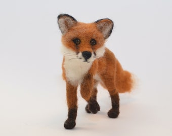 Fox needle felted, felted fox realistic, red fox sculpture, fox gift