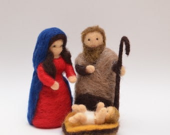 Nativity Figures Christmas felted - Holy Family needle felted- Mary, Joseph and Baby Jesus