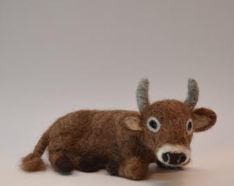 Sitting ox nativity scene, ox made of felt, needle felted