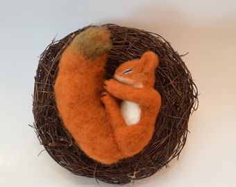 Squirrel in the nest, needle felted squirrel, decoration season table