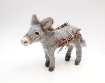 Needle felted donkey -   donkey made of felt