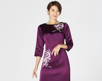6788758e10ea Silk Cheongsam | Cheongsam Dress with Embroidery | Qipao | Chinese Wedding  Dress | Traditional Qipao Dress | Mother of Bride Cheongsam