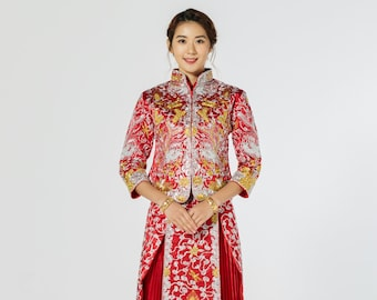 4b6d2efc0 Chinese Traditional Wedding Dress | Red and Gold Qun Kwa | Chinese Dress | Chinese  Wedding Dress | Traditional Qipao | Tea Ceremony Dress