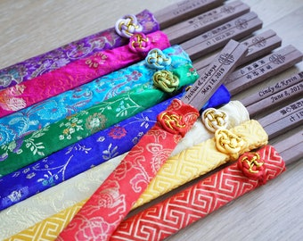 Personalized Chopsticks with Silk Pouch   Engraved Chopsticks   Chinese Wedding Favors   Custom Chopsticks Gifts   Wedding Party Favors