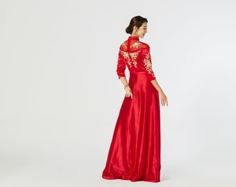 40623fffd000 Modern Gold Cheongsam | Chinese Wedding Dress | Cheongsam Qipao Dress | Traditional  Qipao Dress | Tea Ceremony Aline Silk Chinese Dress