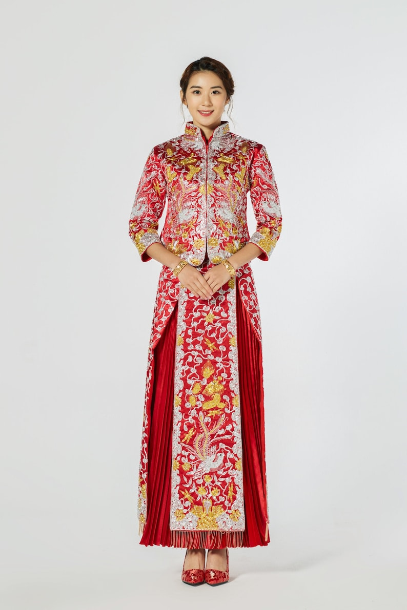 Chinese Wedding Dress.Chinese Traditional Wedding Dress Red And Gold Qun Kwa Chinese Dress Chinese Wedding Dress Traditional Qipao Tea Ceremony Dress