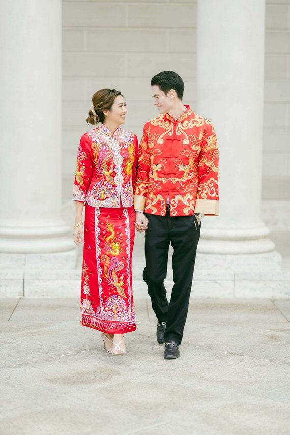 Chinese Traditional Wedding Dress | Colorful Qun Kwa | Chinese Dress | Chinese Wedding Dress | Traditional Qipao | Tea Ceremony Dress