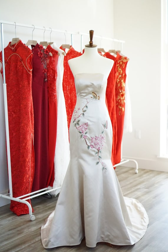 Chinese Wedding Dress Custom Qipao Qipao Dress Tea Ceremony Cheongsam Dress Chinese Custom Dress Custom Modern Floral Qipao