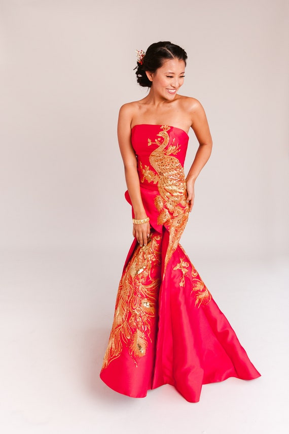 Chinese Wedding Dress Red And Gold Modern Cheongsam Dress Etsy