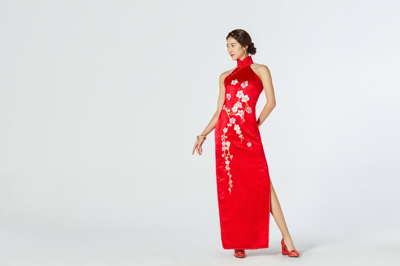 Chinese Wedding Dress.Floral Cheongsam Chinese Wedding Dress Cheongsam Qipao Dress Traditional Qipao Dress Tea Ceremony Silk Chinese Dress