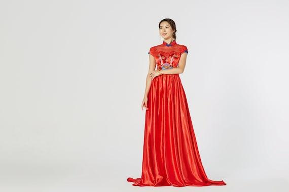 Chinese Wedding Dress Modern Red Cheongsam Cheongsam Qipao Dress Traditional Qipao Dress Tea Ceremony Aline Chinese Dress