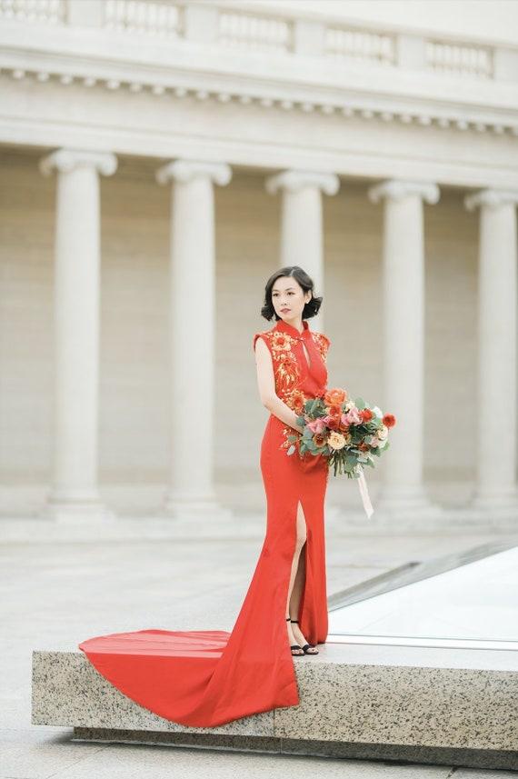 Custom Red Mermaid Cheongsam | Red Cheongsam Dress | Custom Qipao | Chinese Custom Dress | Chinese Bridal Dress | Tea Ceremony Dress by Etsy