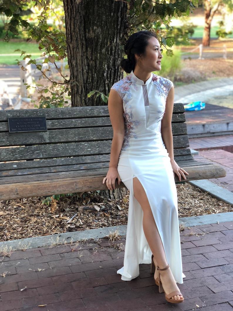 6962588a1 Custom Modern White Cheongsam Cheongsam Dress Custom Qipao | Etsy