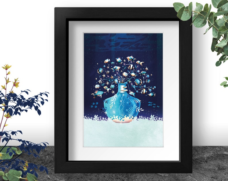 Underwater Plant Art Print Tropical Fish Painting Deep Blue image 0