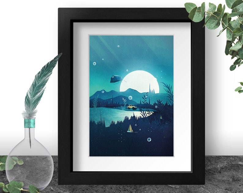 Adventure Awaits Camping Art Print Gift for Him Moonlight image 0