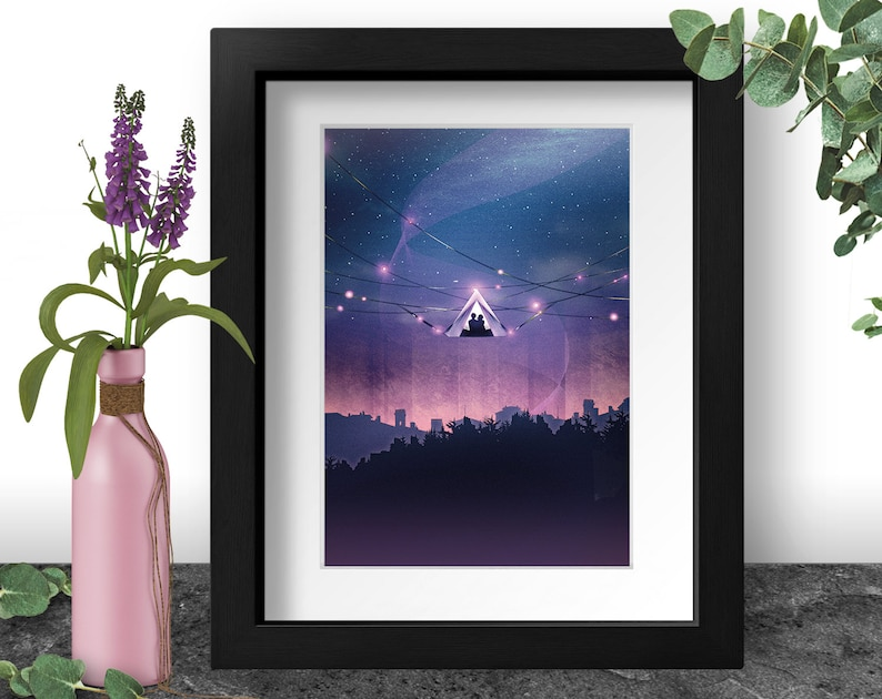 Magical Camping Art Print Starry Night Adventure Tent in the image 0