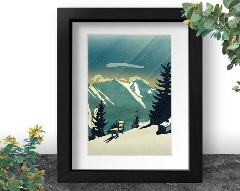 Austrian Mountain Art Print Landscape Painting Alpine image 0