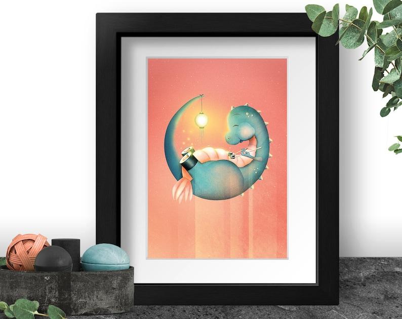 Kid Dragon Decorations Fantasy Dinosaur Art Print Little image 0