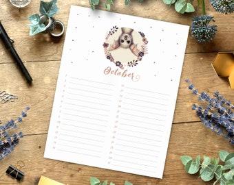 Printable Birthday Calendar, Botanical Art, Perpetual Birthday Planner, Cute Animals, Letter, A4, Download Calendar, Birthday Organizer