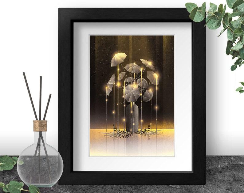 Mystical Flower Golden Botanical Wall Art Umbrella Home image 0