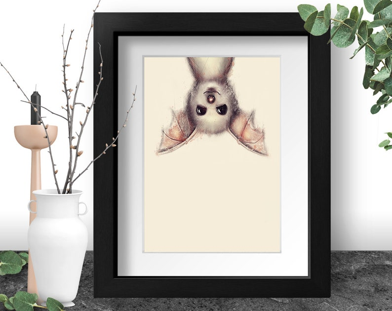Bat Art Print Pastel Goth Creepy Cute Weird Animal Print image 0
