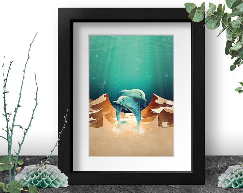 Dolphins Art Print A3 Underwater Illustration Dunes Wall image 0