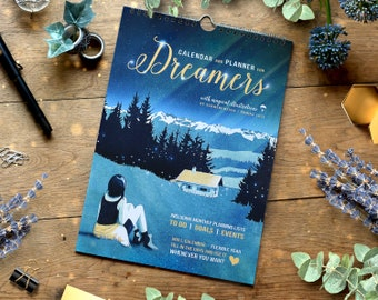 Enchanted Wall Calendar, Perpetual Calendar and Planner, Illustrations for Dreamers, Dreamy Paintings, A4, Colorful Family Calendar, 2020