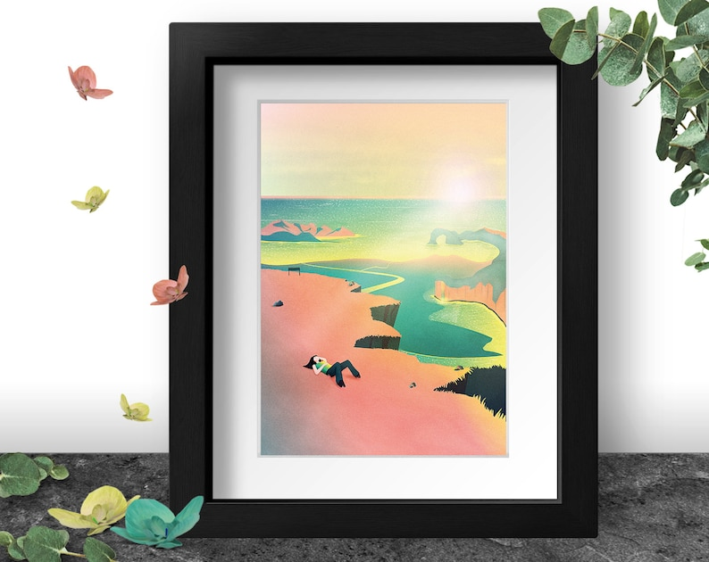 Cliff Edge Art Print Neon pink aesthetic Seascape Ocean image 0