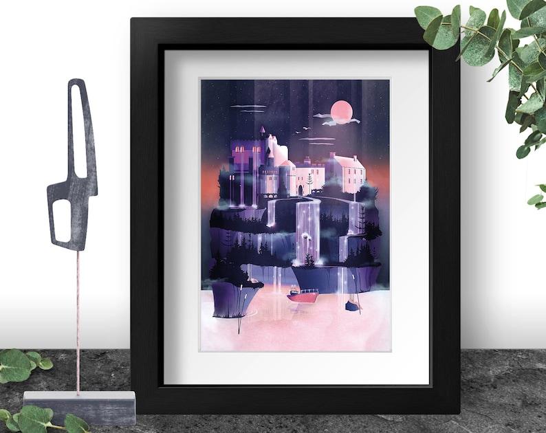 Fantasy Castle Art Print Violet Illustration Lavender Color image 0