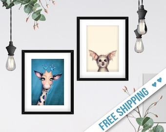 Animal Head Art, Naive Art, Giraffe Poster, Cute Gothic Bat, Two Piece Home Decor, Pastel Print Set for Kids, 2 Children Ilustrations