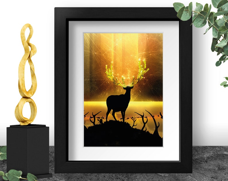 Deer Silhouette Reindeer Art Print Golden Sunset Painting image 0