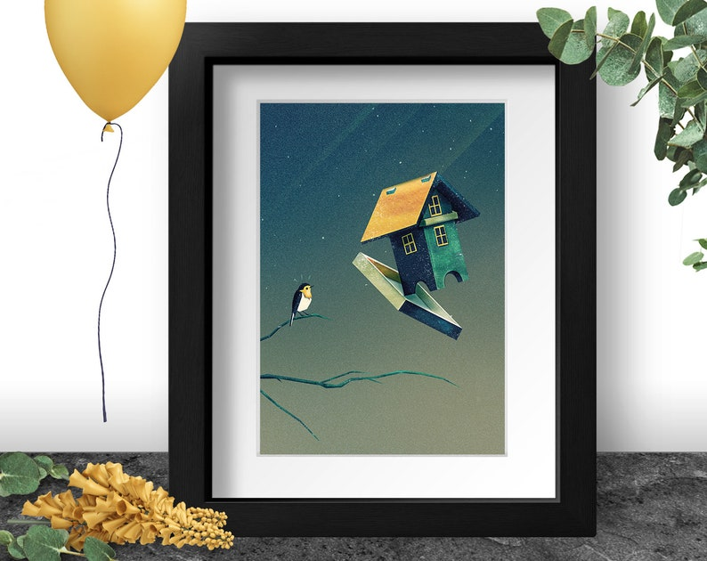 Funny Bird Art Print A4 A3 Forest Green Painting Flying image 0