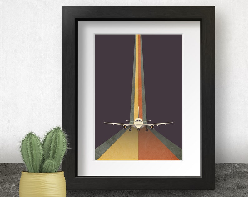 Airplane Art Print Retro Wall Art 90s Home Decor Pilot image 0