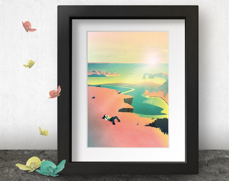 Cliff Edge Art Print Neon pink aesthetic Seascape Ocean image 0
