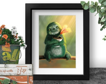 Cute Sloth Art Print, Gift for Sloth Lovers, Baby Animal Poster, Three Toed Sloth, Adorable Nursery Print, Moss Green Painting, Flower Pot
