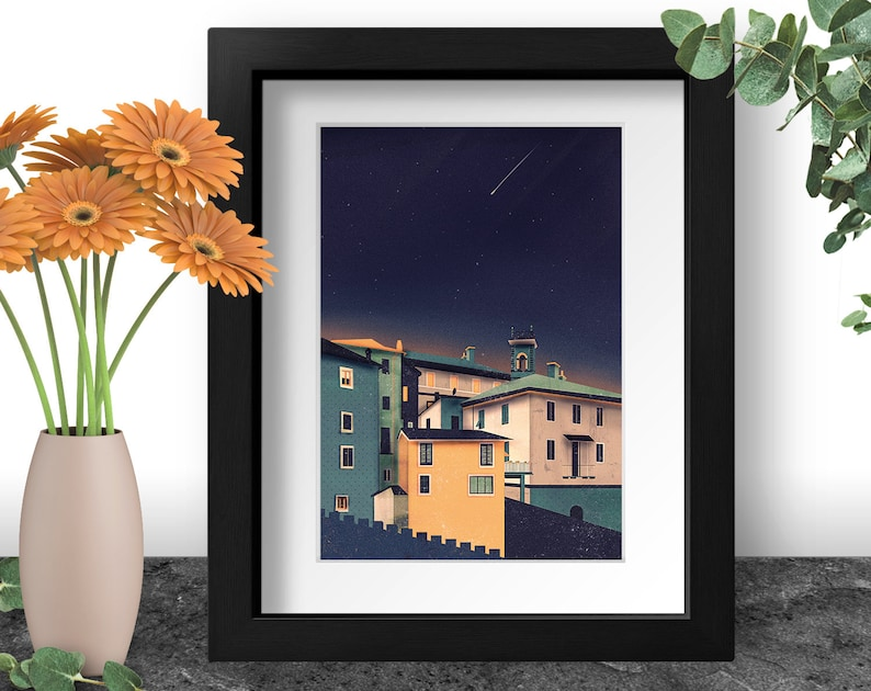 Colorful Houses Art Print Italy Wall Art House Illustration image 0