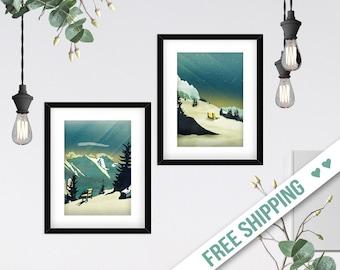 Vintage Mountain Art Print Set of 2, Emerald Minimalist Wall Art, Geometric Illustrations, Alps Landscape Paintings, Two Piece
