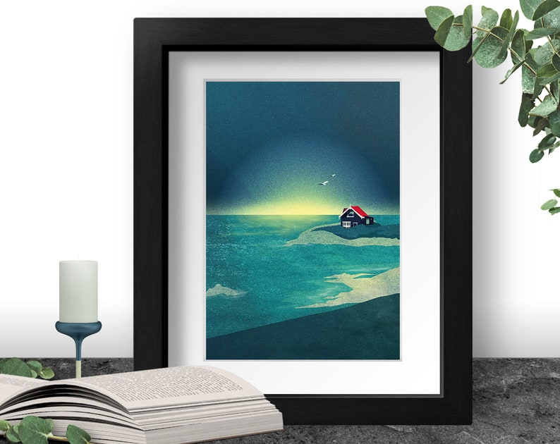 House by the Sea Art Print Ocean View Painting Seaside image 0
