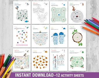 12 Activity Sheets for Kids, Printable Children Games, Wedding Activity Book, Kids Riddles, Mazes for Kids, Coloring Sheets, Birthday Party