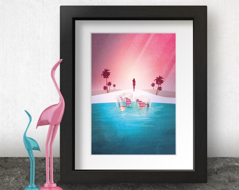 Tropical Island Art Print Lady at the Beach Illustration image 0
