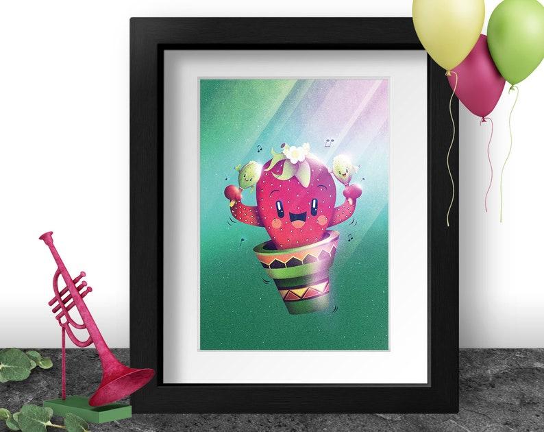 Funny Strawberry Art Print Cactus Illustration Latin America image 0