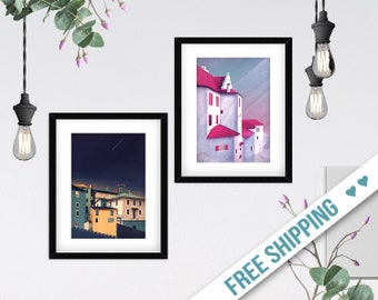 Houses Art Print Set of 2, Geometric Paintings, Two Digital Illustrations, Contemporary Wall Decor, Abstract Poster