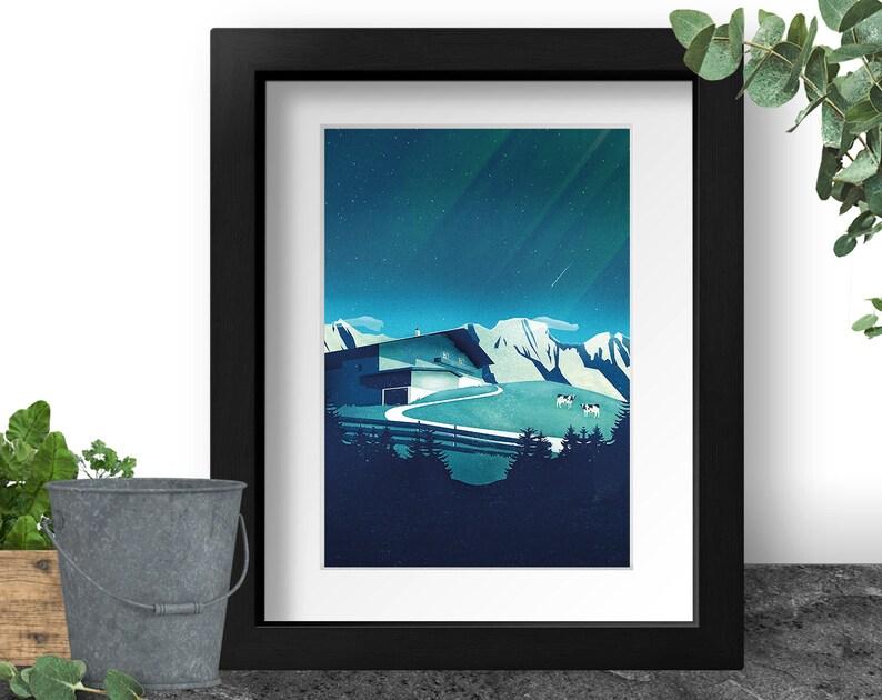Alps Travel Poster Hiking Art Print Alpine Landscape image 0
