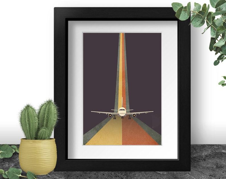 Airplane Art Print Retro Wall Art 90s Home Decor Pilot image 0