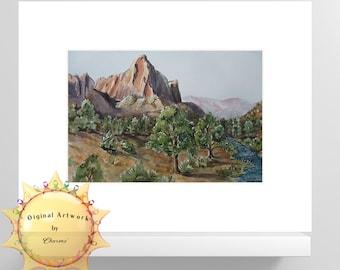 Utah Valley /Original Watercolor Painting/ Desert River Valley/Southwest landscape/Comes in White Matte