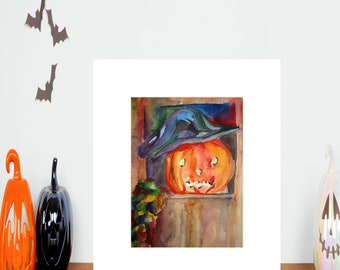 Print of Watercolor Painting- Witch Pumpkin/Halloween Wall Art /Halloween Decor/ Comes in a White Mat Ready to be Framed