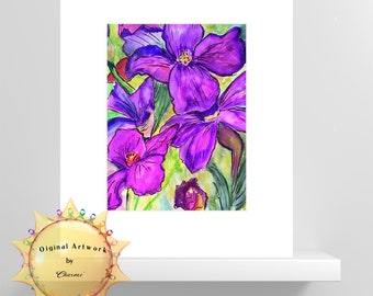 Ah Iris/Bright Colors/Flower Lover/Original Watercolor Painting