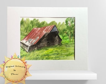 Red Roofed Barn Original Colored Pencil Illustration/ Bring A Country Vacation Spot Into Your Home/Country Charm