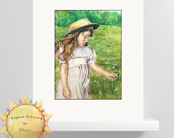 Girl In Straw Hat Original Watercolor by Charme'/Decorate Daughters Room Or Add This Nostalgic Piece In Any Room