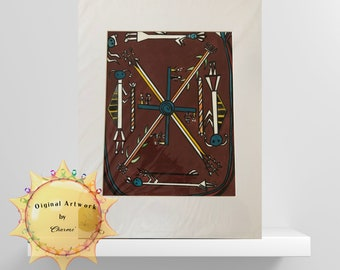 Cultural Beauty/Watercolor Painting of Navajo Sand Painting/Designs of the Southwest/